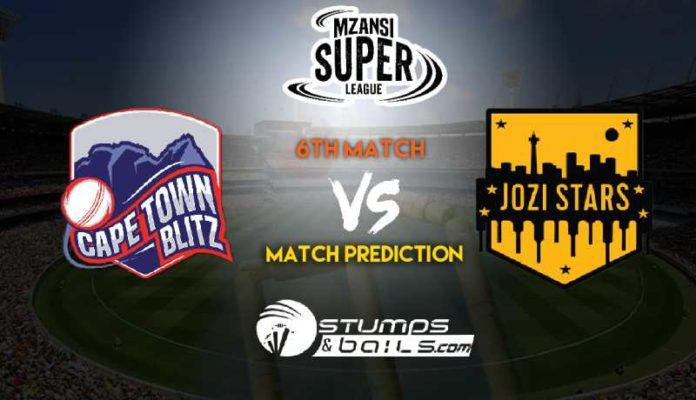 Match Prediction For Cape Town Blitz vs Jozi Stars 6th Match   Mzansi Super League 2019  MSL 2019   CTB vs JS