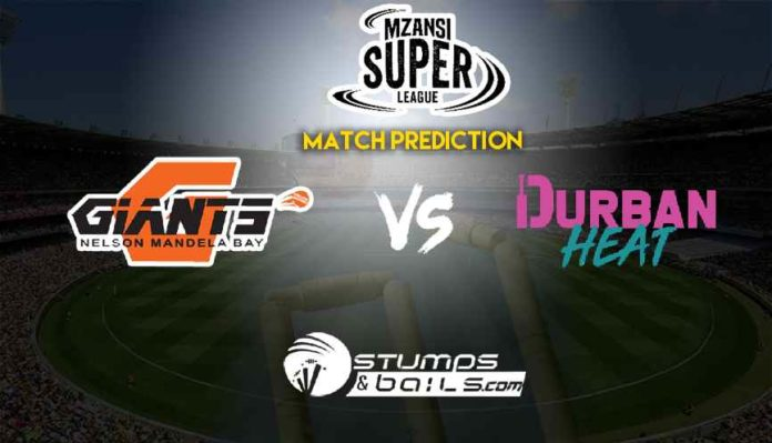 Match Prediction For Nelson Mandela Bay Giants vs Durban Heat | Mzansi Super League 2019 | NMBG vs DH