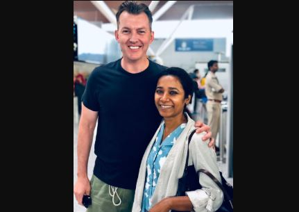 """After """" Bumping Into Movie Co-Star In India Brett Lee All Smiles"""