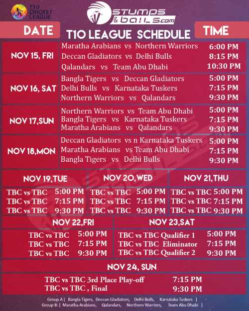 T10 League 2019 Schedule Time-Table